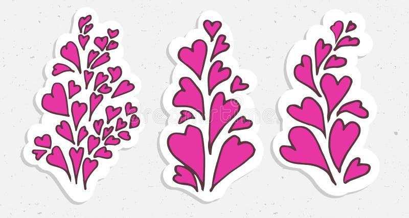 Hearts valentine illustration - cartooning heart. In pink colors vector illustration