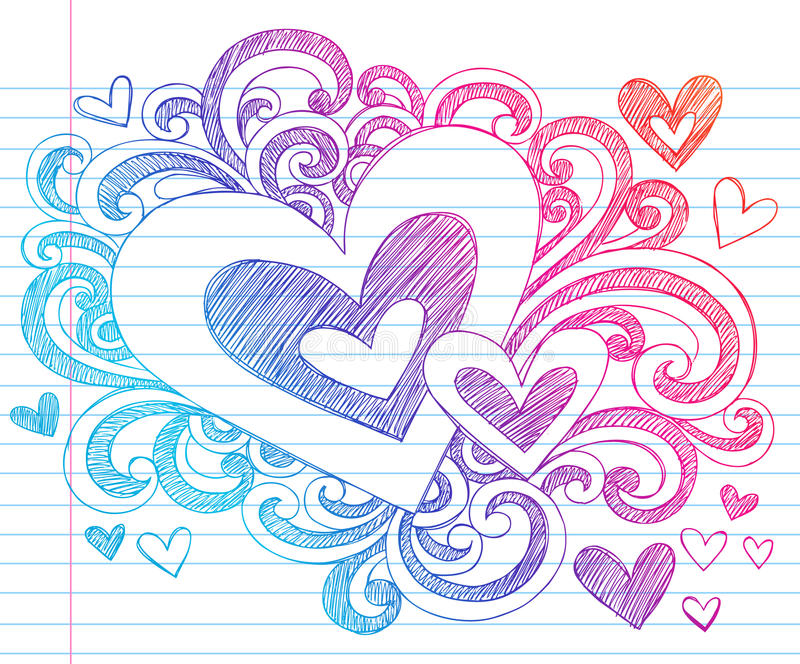 Hearts Valentine Love Sketchy Doodles royalty free stock images