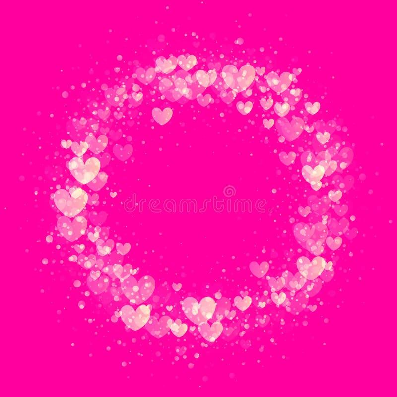 Hearts valentine wreath gold glitter pattern background. Luxury Valentines Day wreath golden hearts glitter pattern for premium pink card background vector illustration