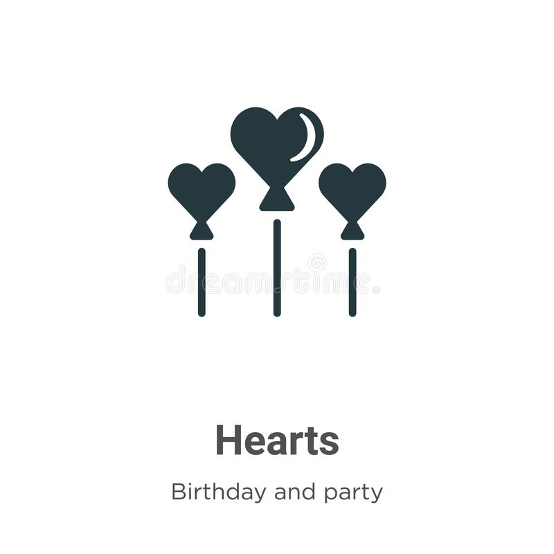 Hearts vector icon on white background. Flat vector hearts icon symbol sign from modern birthday and party collection for mobile stock illustration