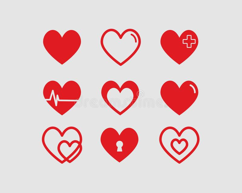 Red hearts vector illustrations set Valentines day stock illustration