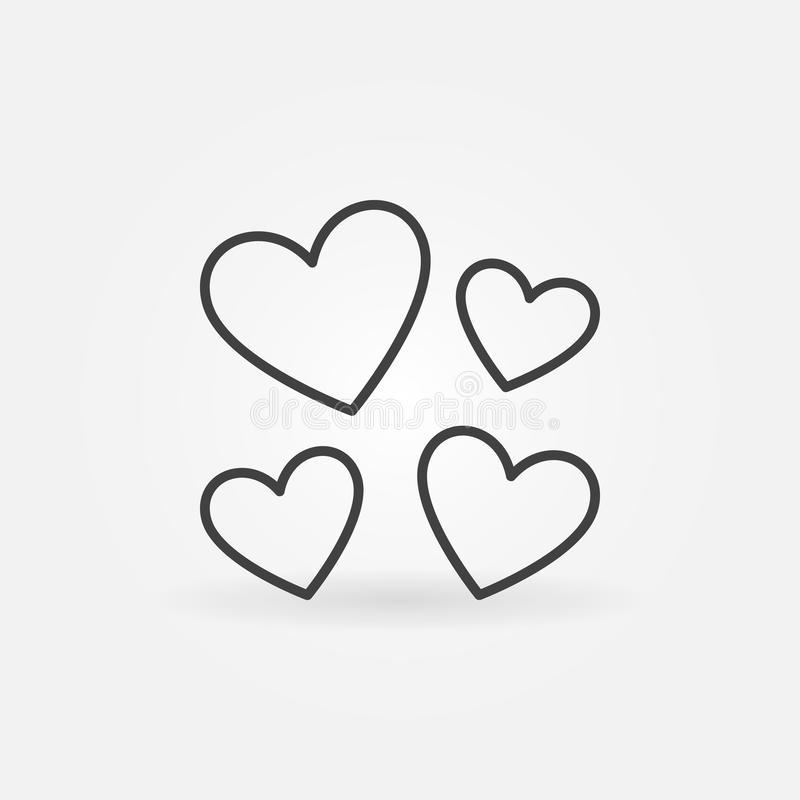 Hearts vector Love concept icon or symbol in thin line style royalty free illustration