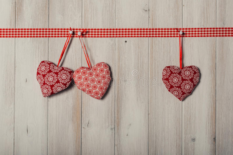 Hearts on vintage wood background, decorate valentine's day royalty free stock photos