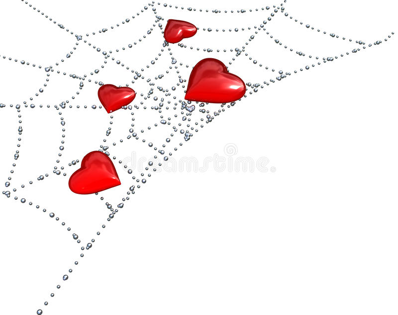 Hearts on a web with dew royalty free stock images