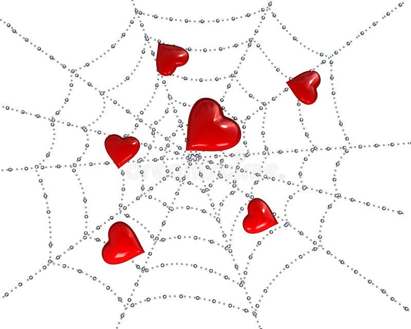 Hearts on a web with dew royalty free stock image