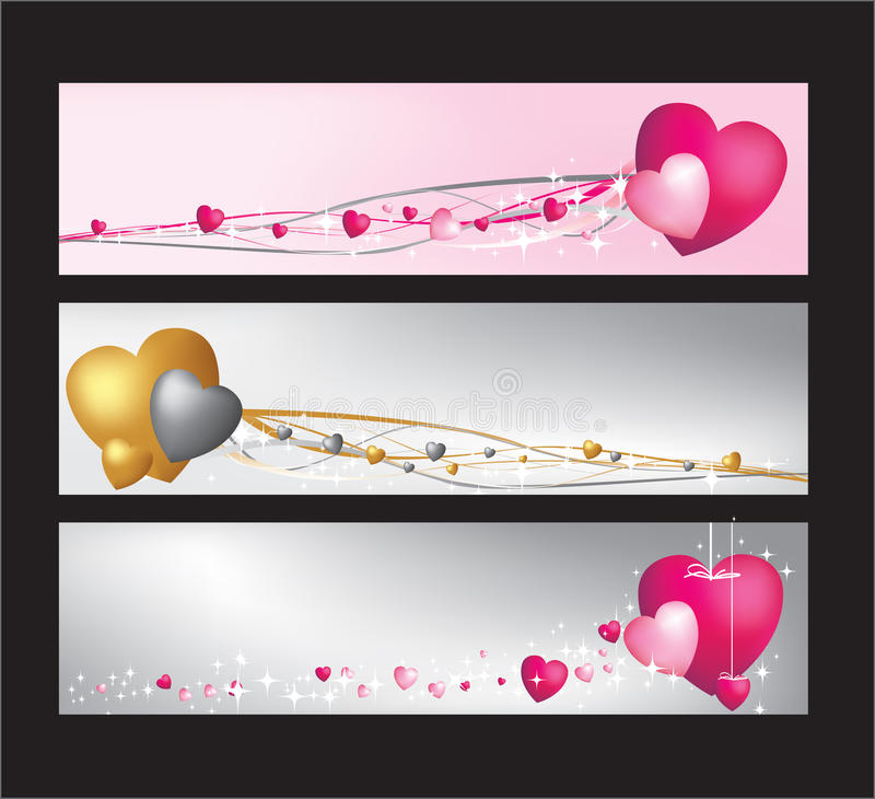 Download Hearts website banner set stock vector. Image of pink - 13868746