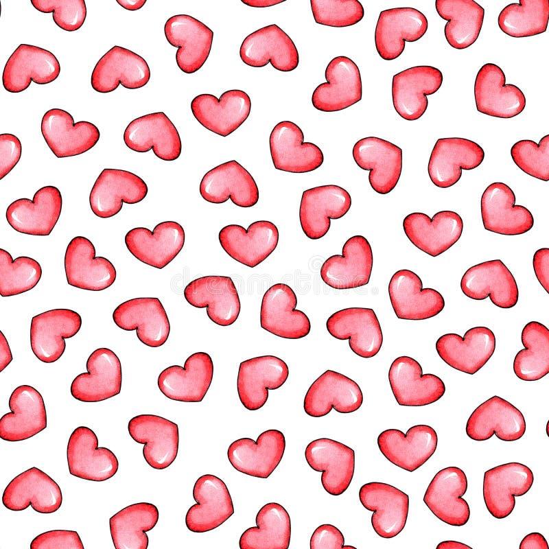 Hearts watercolor vector illustration