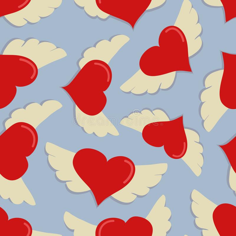 Hearts with wings vector seamless pattern on blue background. stock illustration