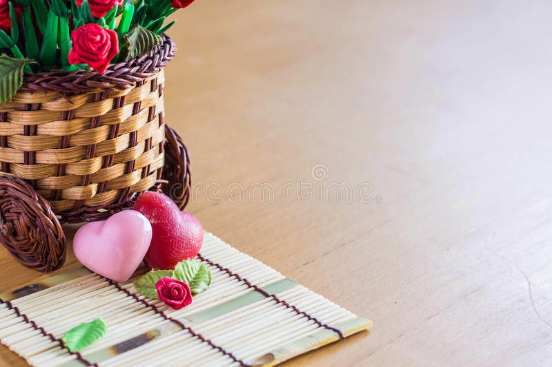 Hearts on a wooden floor. royalty free stock photo