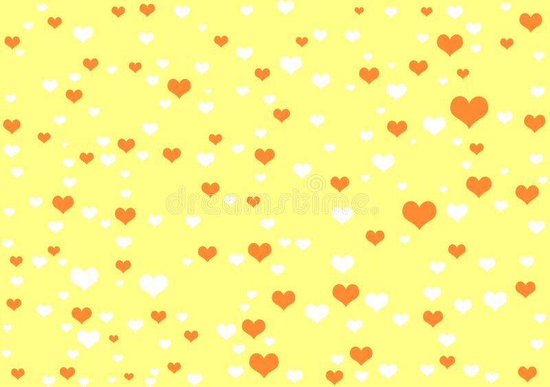 Hearts yellow background wallpaper design. Hearts yellow background wallpaper for use with design layouts or content creation stock illustration