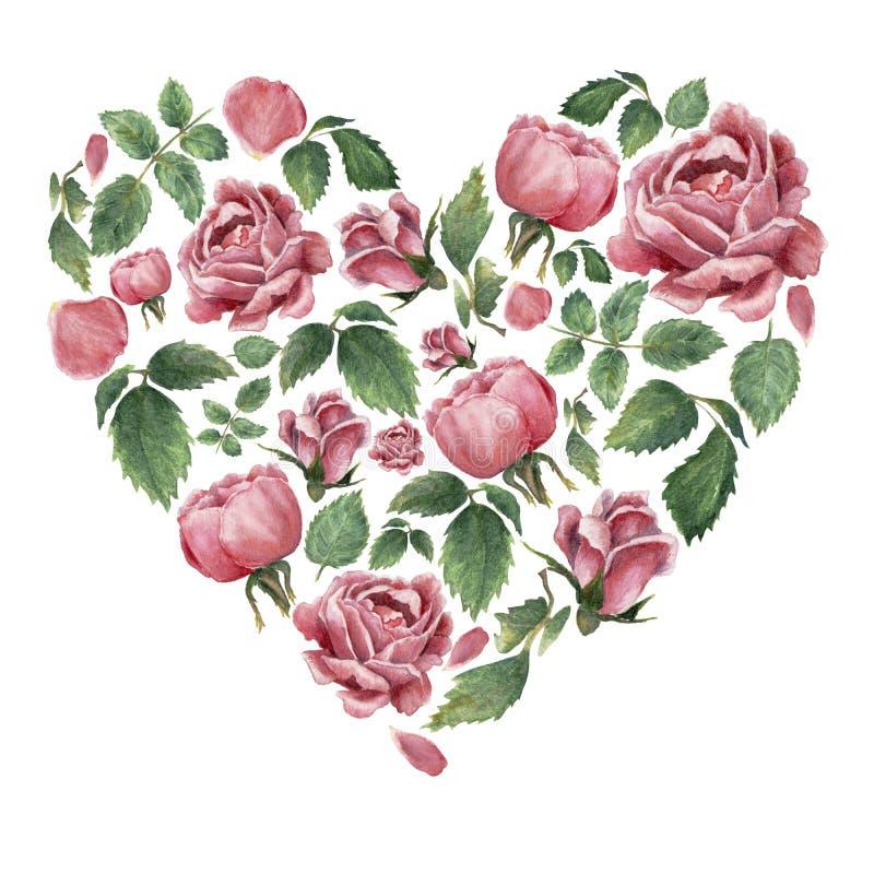 Heartshaped forma wypełniająca z różowymi kwitnącymi różami i liśćmi ilustracja wektor