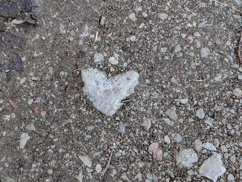 Heartshaped sten på vandringsledet royaltyfri foto