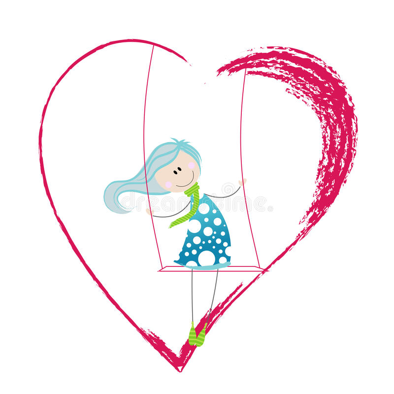 heartshaped swing för gullig flicka royaltyfri illustrationer