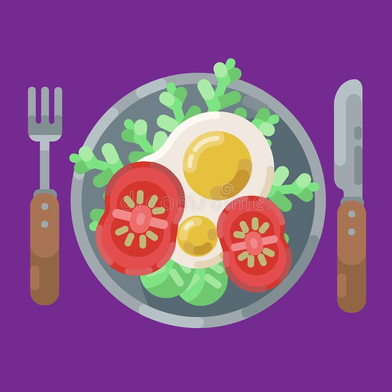 A hearty breakfast of fried eggs and fresh vegetables. Vector illustration. Eating on a plate is a top view. Served. A hearty breakfast of fried eggs and fresh stock illustration