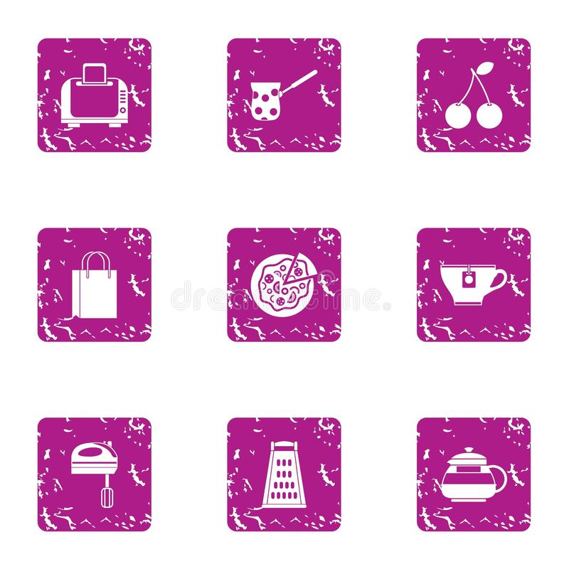 Hearty breakfast icons set, grunge style. Hearty breakfast icons set. Grunge set of 9 hearty breakfast vector icons for web isolated on white background vector illustration