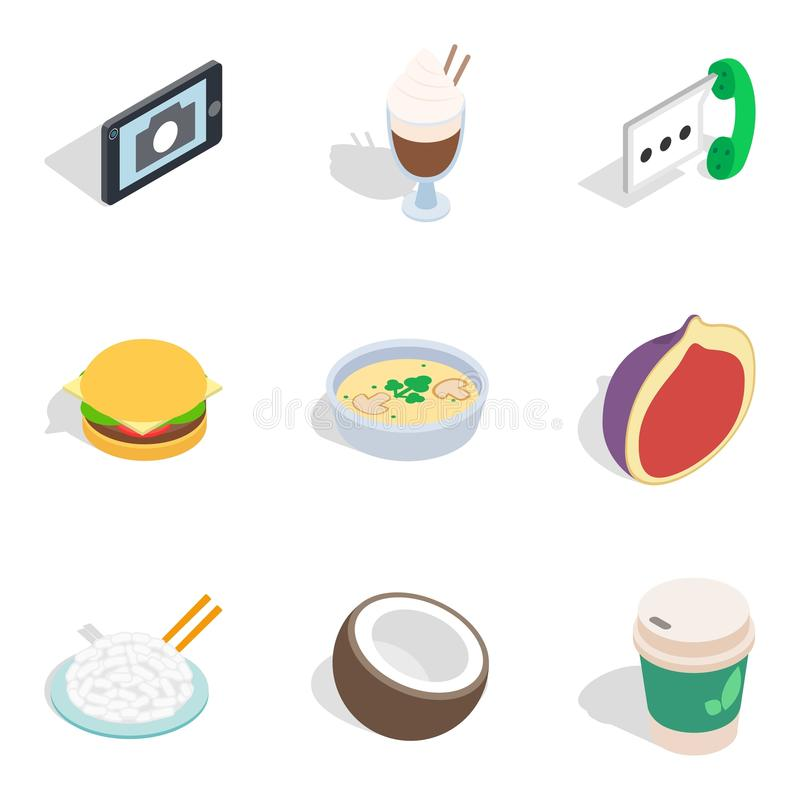 Hearty breakfast icons set, isometric style. Hearty breakfast icons set. Isometric set of 9 hearty breakfast vector icons for web isolated on white background stock illustration
