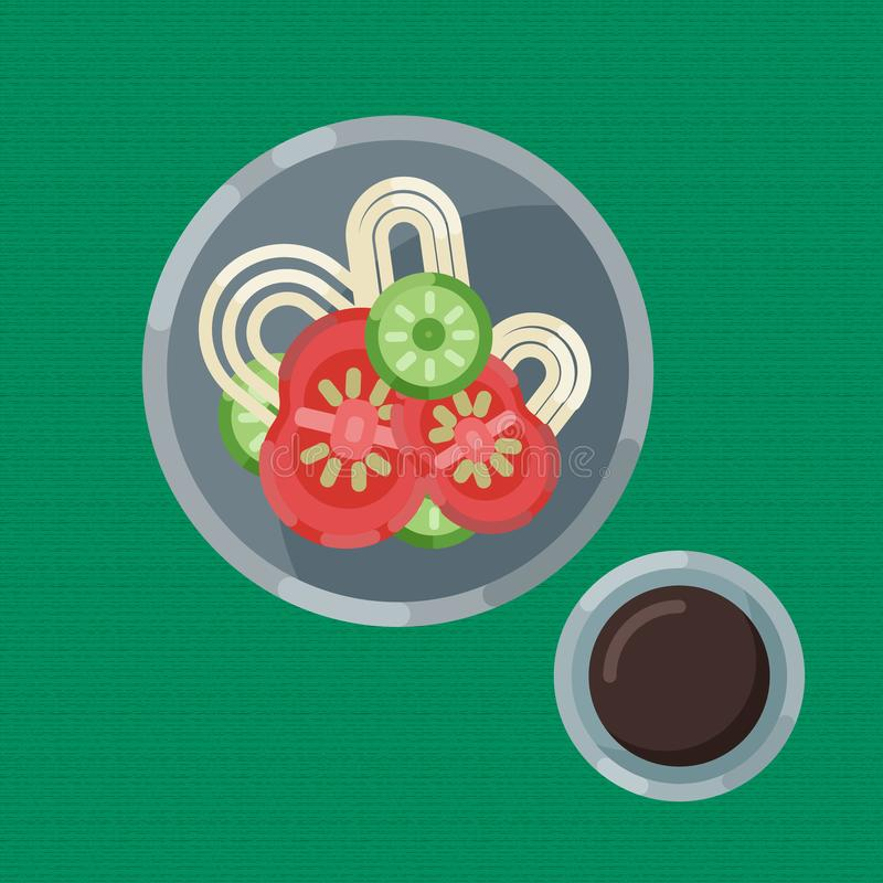 A hearty breakfast of noodle and fresh vegetables, cup of coffee. Vector illustration. Eating on a plate is a top view. A hearty breakfast of noodle and fresh stock illustration