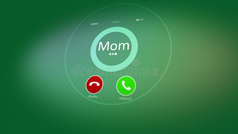 Relaxing phone calling picture. Hearty 3d rendering of an abstract phone calling, where the Mom inscription is seen. Also there are disable, and respond signs vector illustration
