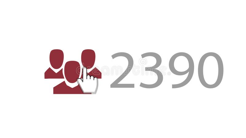 Like You Sign 2390. A hearty 3d rendering of a like you sign where a finger presses three purple heads and shoulders, meaning friends, with 2390 numbers put vector illustration