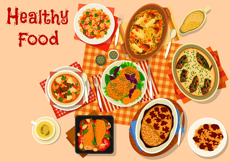 Hearty dishes with baked meat and fish icon. Hearty dishes with meat and fish icon of lamb stew, bean stew with sausage, baked fish in sour cream, cabbage vector illustration