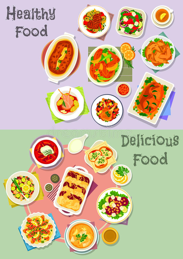 Hearty dishes icon set with fish, meat and veggies. Hearty dishes icon set with vegetable, fruit salad with cheese, fish and nut, fish cupcake, baked chicken stock illustration