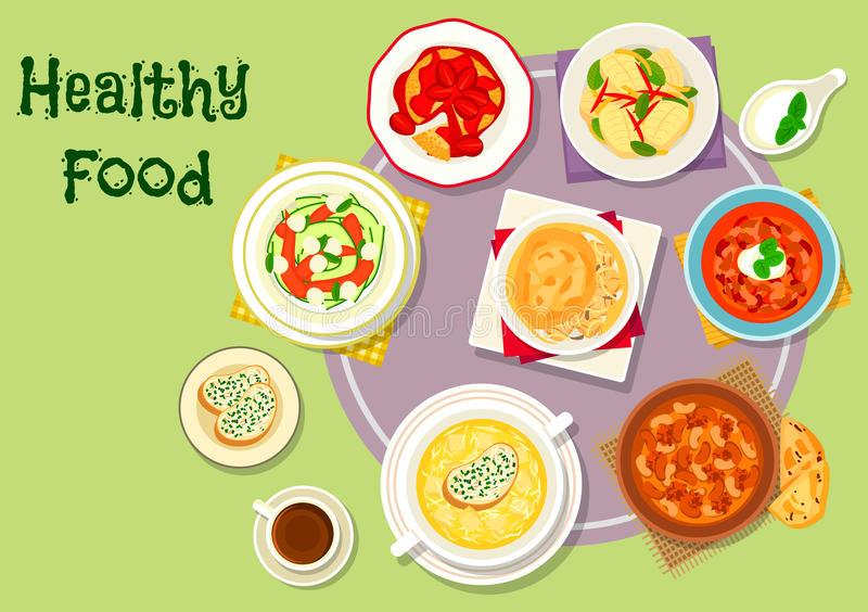 Hearty food icon for menu or recipe design. Hearty food for dinner icon of chicken and beef soups with bean, tomato and chilli, cheese cream soup, chicken pie stock illustration