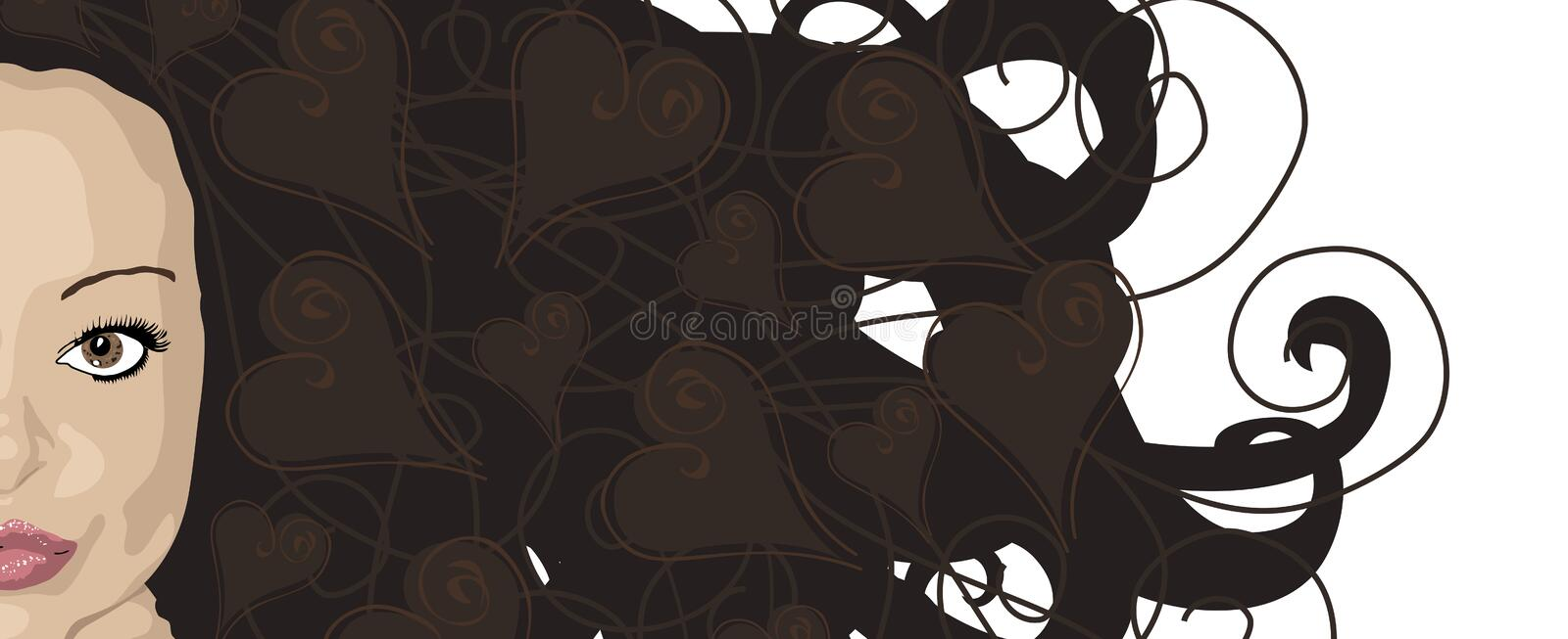 Hearty Hair Brunette. Illustration banner of woman with brunette hair and heart highlights vector illustration