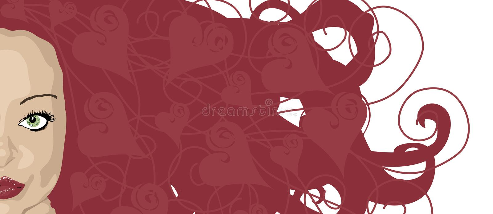Hearty Hair Red. Illustration banner of woman with red hair and heart highlights stock illustration