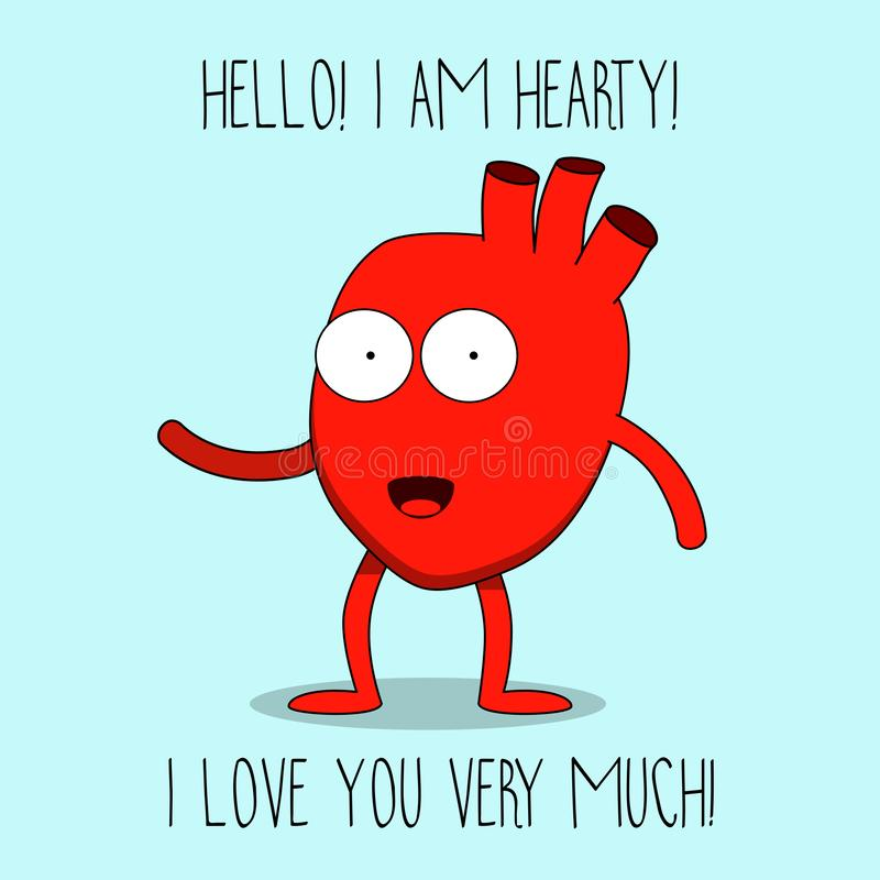 Hearty the heart cute mascot character Happy Valentine`s day. Vector illustration. Smiling, waving, happy royalty free illustration