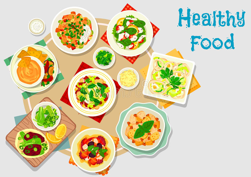 Hearty meal icon for dinner menu design. Hearty meal icon of chicken salad, chilli bean stew, vegetable salads with cheese and chickpea, tomato olive salad royalty free illustration
