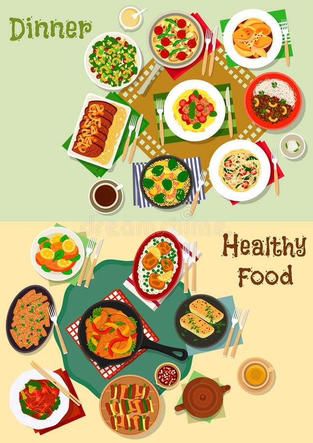 Hearty meal icon set for healthy food design. Hearty dishes of dinner menu icon set with grilled meat and vegetable, shrimp and veggies salad, baked chicken royalty free illustration