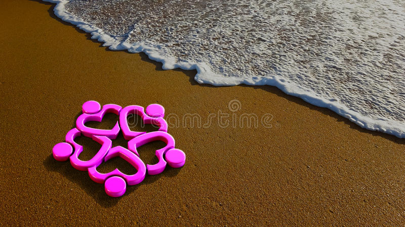Hearty People Group at the Beach. 3D Rendering Illustration royalty free illustration