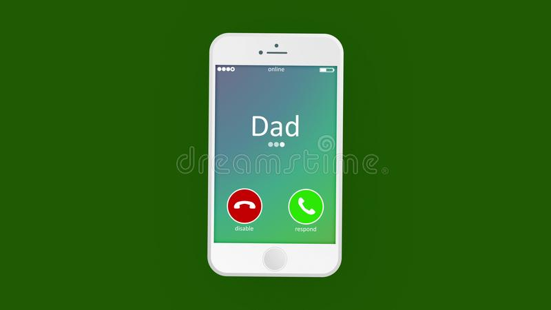 Hearty phone calling picture. Warm-hearted 3d rendering of an abstract phone calling, where the cell phone has Dad inscription. Besides, it has disable, and vector illustration