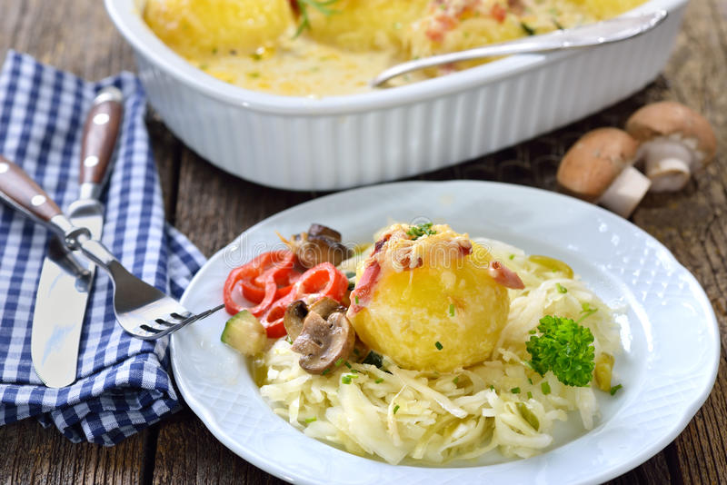 Potato dumpling gratin stock images