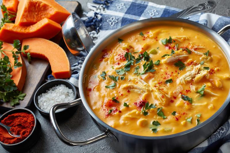 Hearty pumpkin carrot chicken breast soup. Hearty pumpkin carrot chicken breast creamy soup in a metal casserole on a concrete table with kitchen towel,sliced royalty free stock images