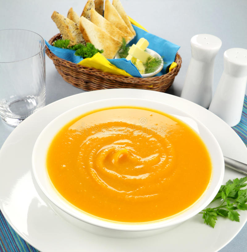 Hearty Pumpkin Soup stock photo