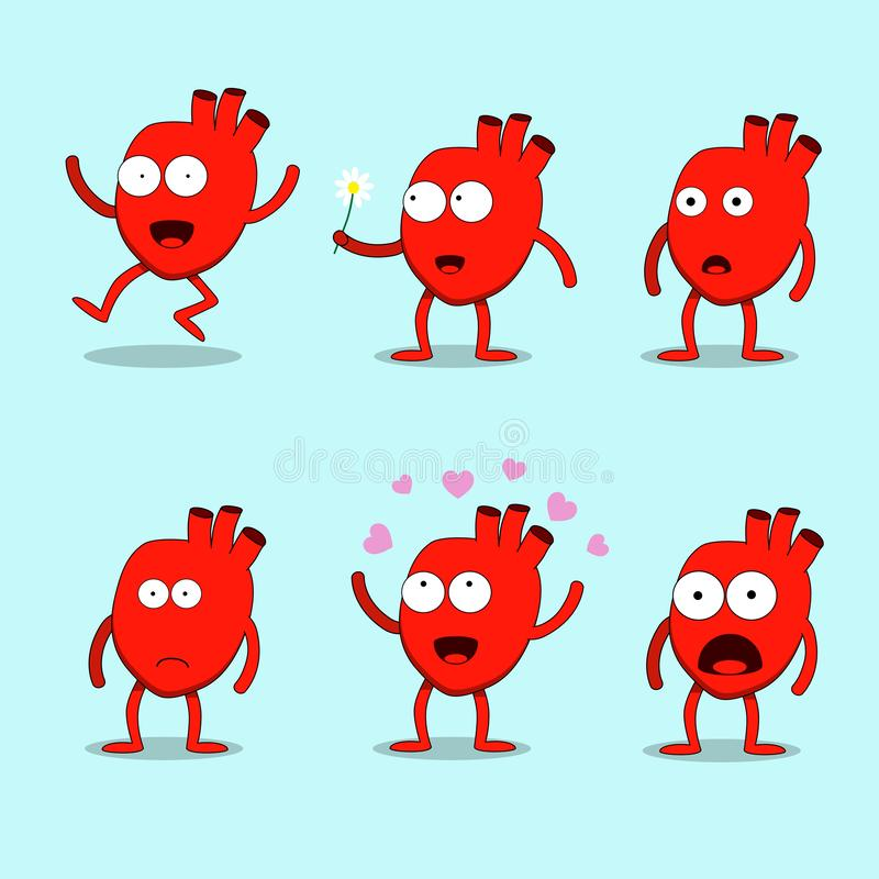 Hearty set. Hearty the heart cute mascot character Happy Valentine`s day vector illustration. Smiling, waving, happy royalty free illustration