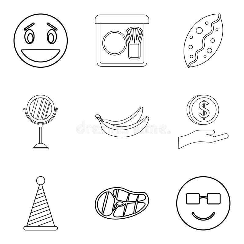 Hearty welcome icons set, outline style. Hearty welcome icons set. Outline set of 9 hearty welcome vector icons for web isolated on white background royalty free illustration