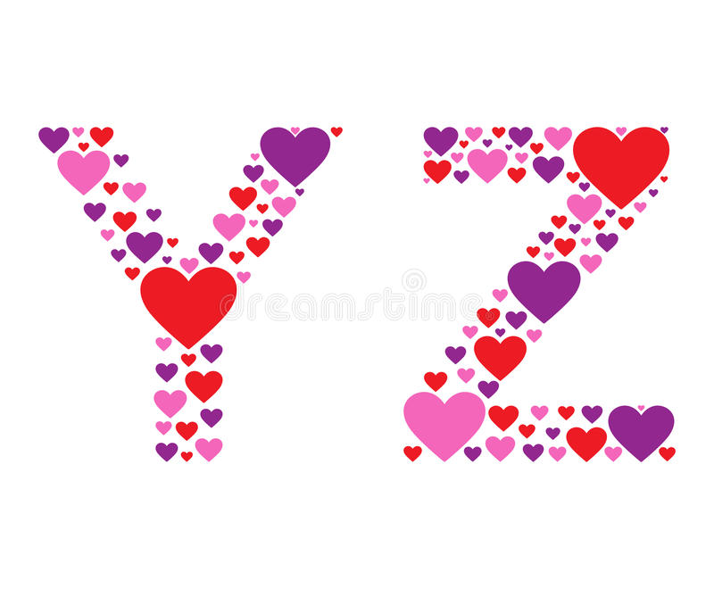 Hearty YZ. Letters Y and Z filled with colorful hearts stock illustration