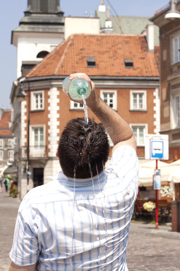 Heat in the city on street in sweltering hot days stock photography