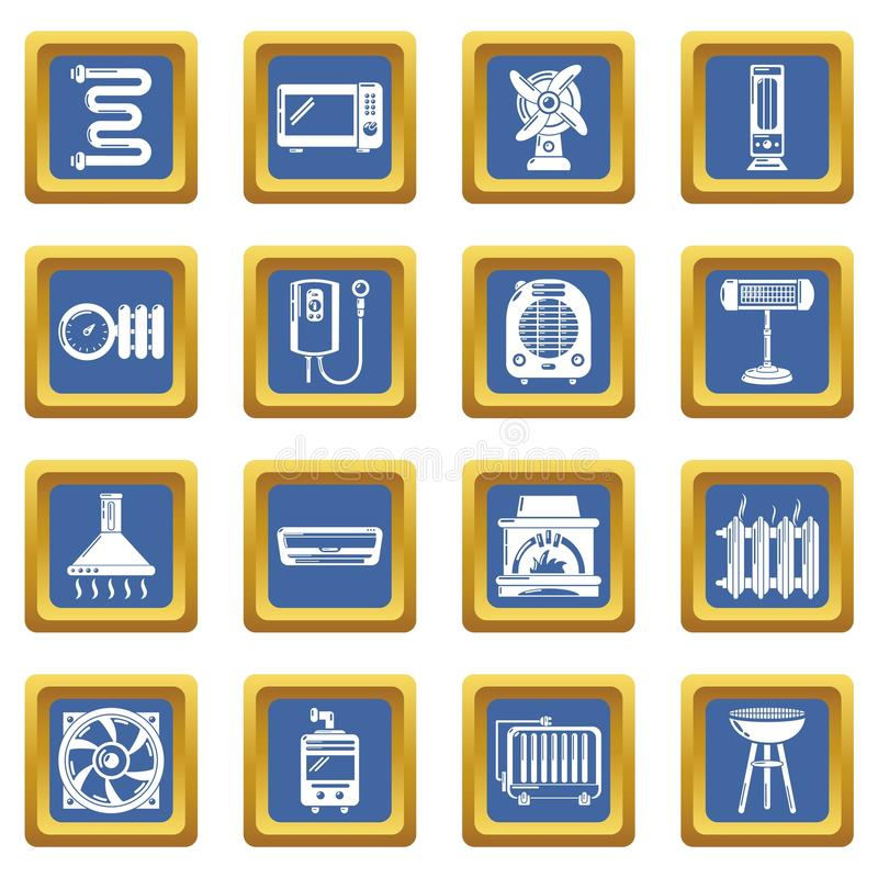 Heat cool air flow tools icons set blue square vector stock illustration