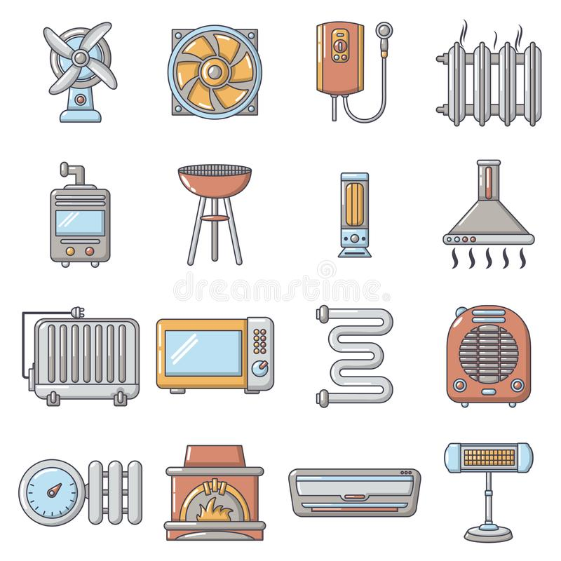 Heat cool air flow tools icons set, cartoon style vector illustration