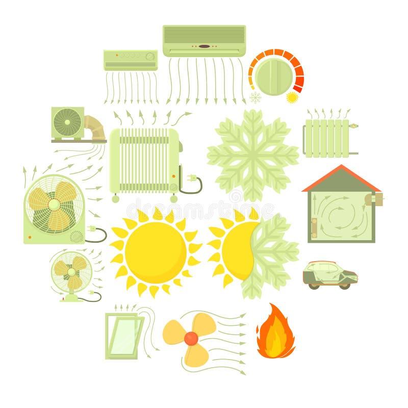 Heat cool air flow tools icons set, cartoon style stock illustration