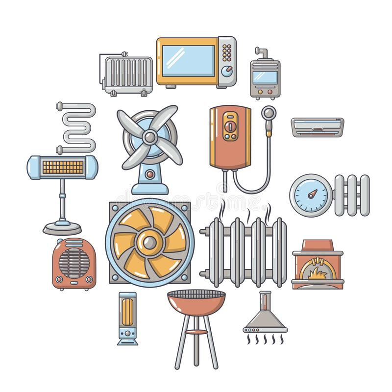 Heat cool air flow tools icons set, cartoon style royalty free illustration