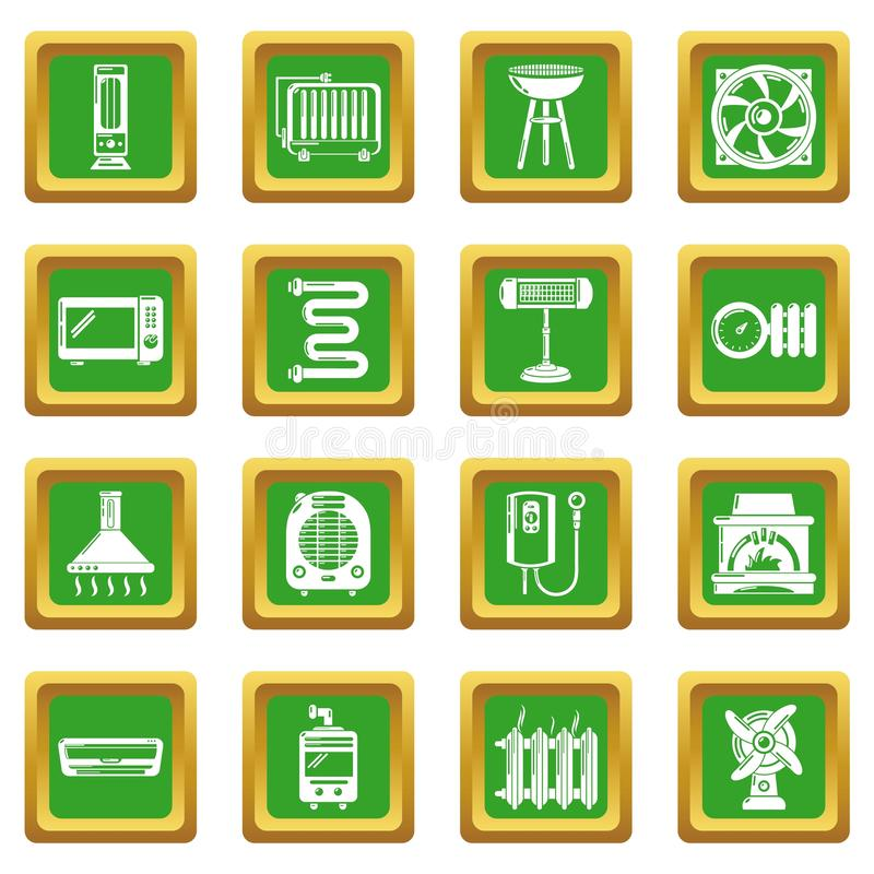 Heat cool air flow tools icons set green square vector illustration
