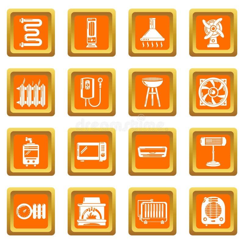 Heat cool air flow tools icons set orange square vector stock illustration