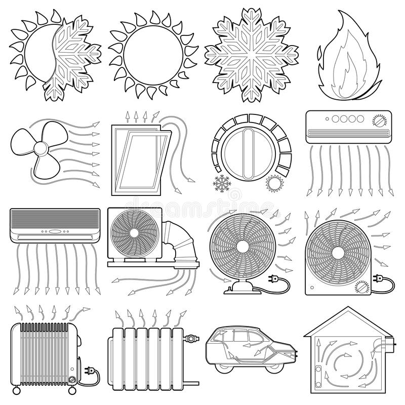 Heat cool air flow tools icons set, outline style. Heat cool air flow tools icons set. Outline illustration of 16 heat cool air flow tools vector icons for web stock illustration