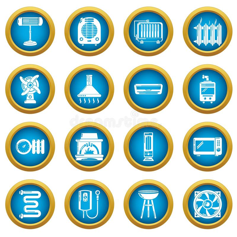 Heat cool air flow tools icons set, simple style stock illustration