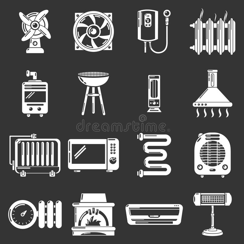 Heat cool air flow tools icons set grey vector. Heat cool air flow tools icons set vector white isolated on grey background stock illustration