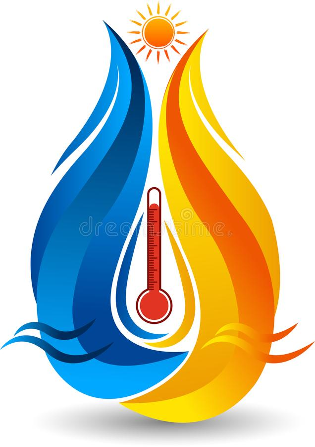 Heat and cool water logo stock illustration
